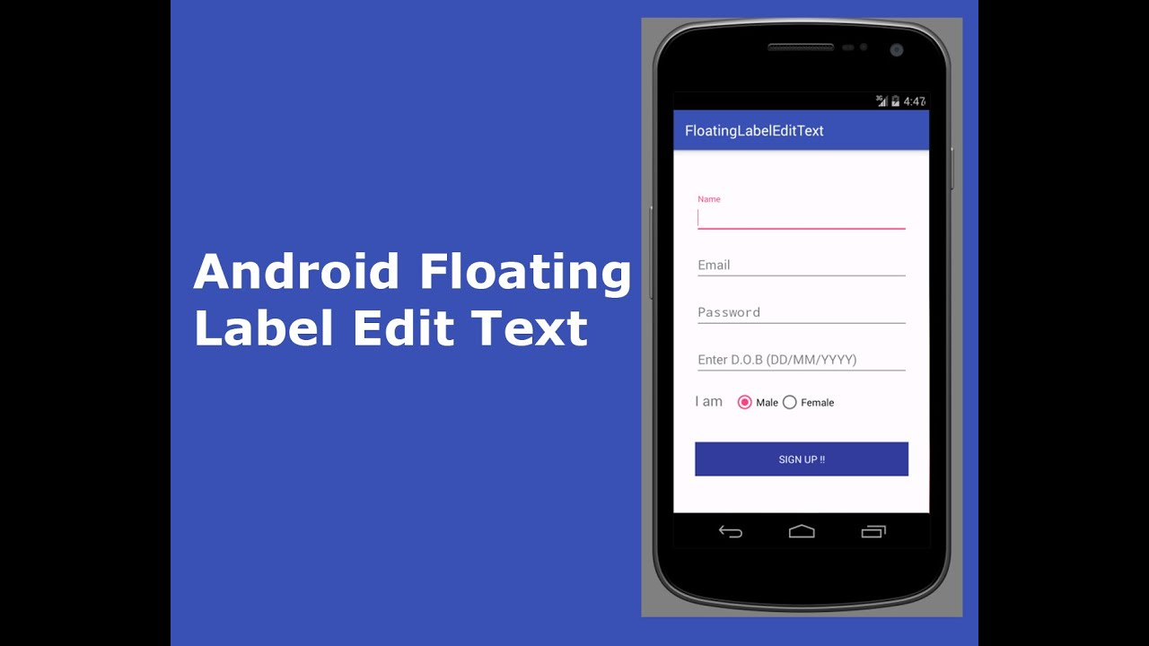 Android Floating Label Edit Text with Form Validation