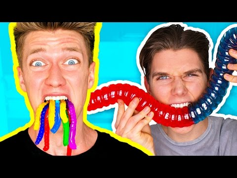 Thumbnail: Gummy Food vs. Real Food Challenge! *EATING GIANT GUMMY WORMS* Gross Real Worm Food Candy