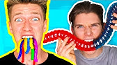 Gummy Food vs. Real Food Challenge! *EATING GIANT GUMMY WORMS* Gross Real Worm Food Candy