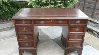 Antique Twin Pedestal Writing Desk 9 Drawers Brown Leather Top
