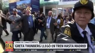 Greta Thunberg llegó en tren hasta Madrid