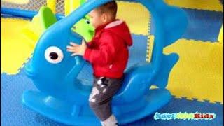 Indoor playground fun for kids play center Plastic Fish Seesaw Xavi ABCKids #indoorplayground