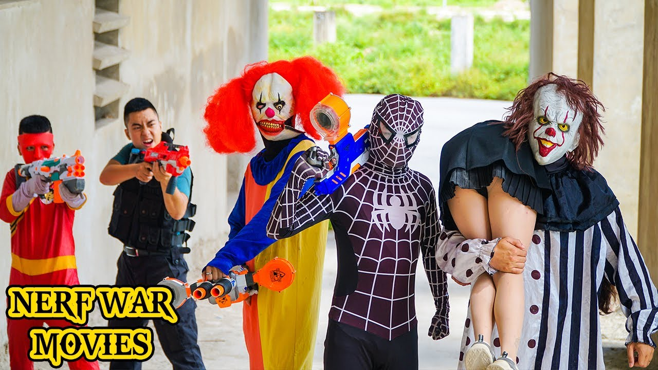 Nerf War Movies: Couple Spider X Warriors Nerf Guns Fight Criminal Group Rescue Old Friend