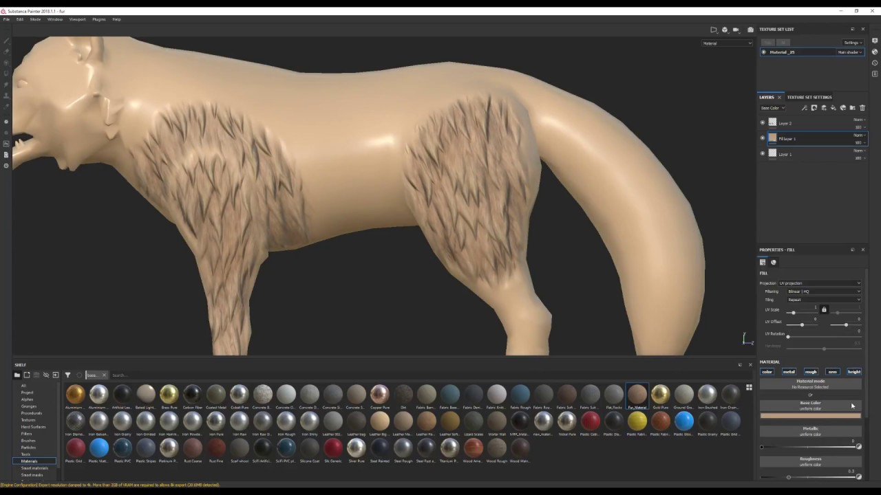 Creating stylized animal fur in Substance Painter