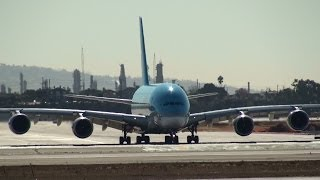 Korean Air Airbus A380 Takeoff at Los Angeles Airport (full HD)