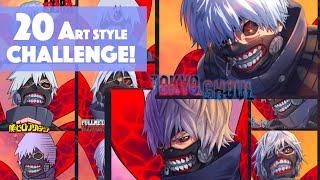 20 Art Style Challenge Speedpaint - With KANEKI KEN - Speed Drawing