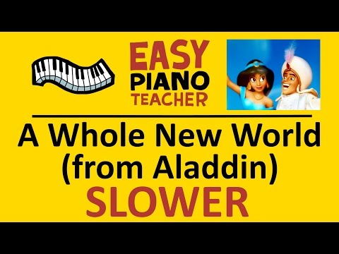 How to play A Whole New World from Aladdin: EASY keyboard song! SLOW piano tutorial & note names