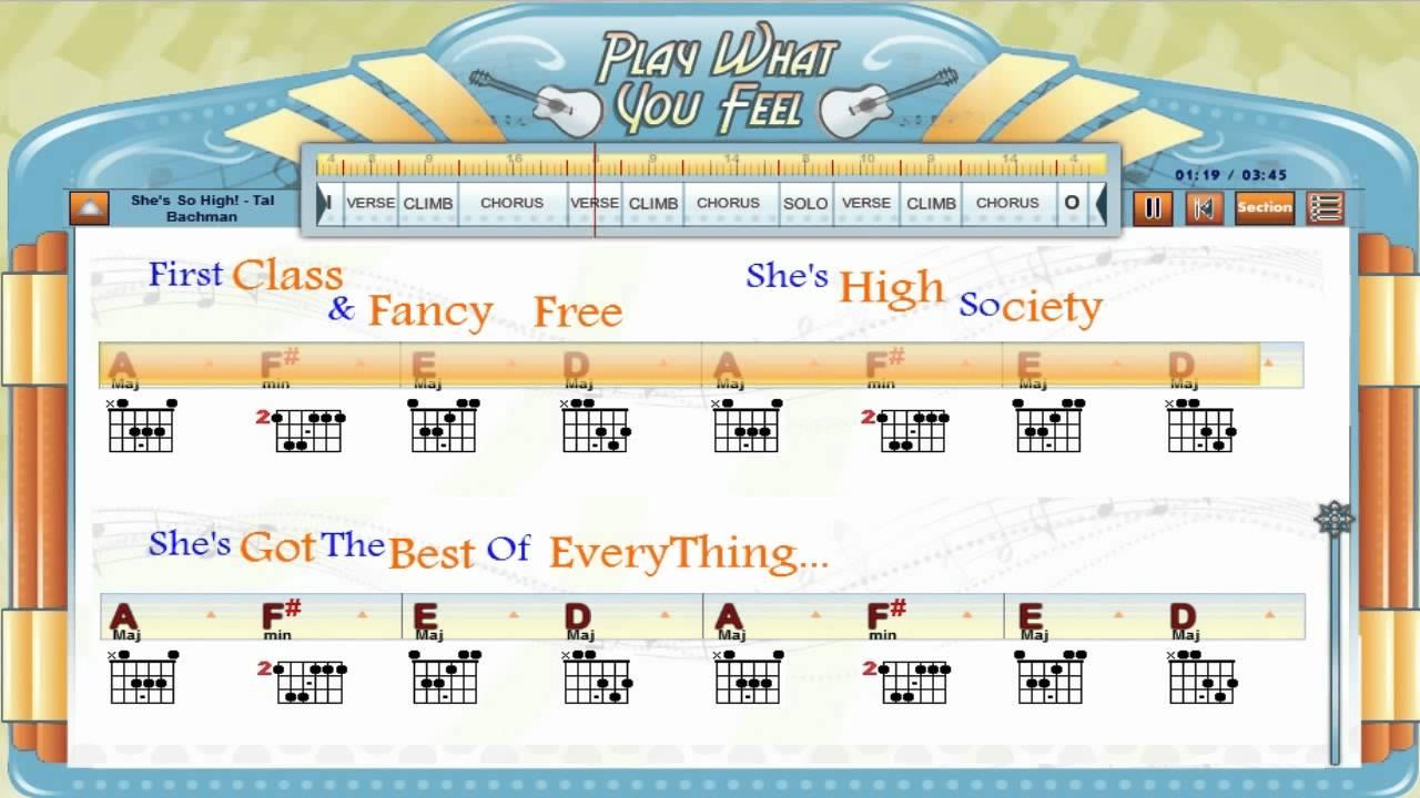 Shes So High Tal Bachman Guitaraoke Chords Lyrics Guitar