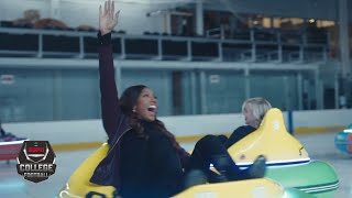 Maria Taylor Tries Bumper Cars On Ice With Former Oklahoma Coach Bob Stoops | Nothing But Yes
