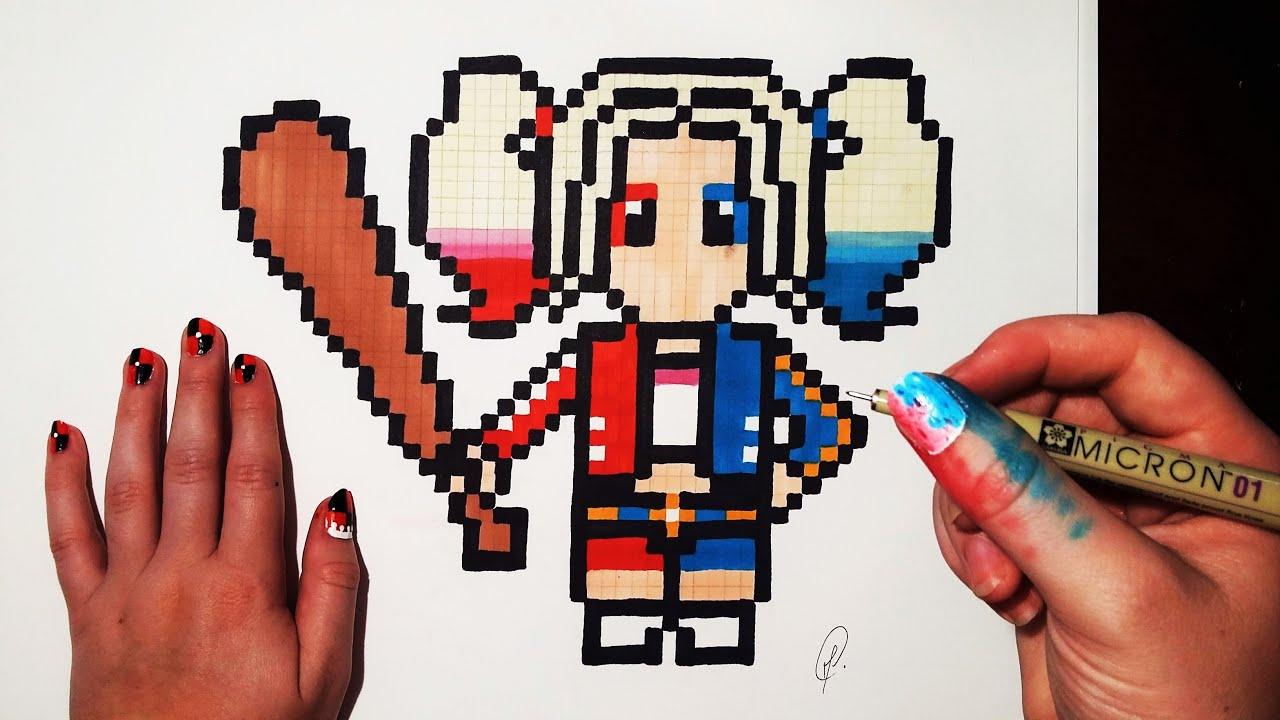 Dessin Pixel Art Harley Quinn