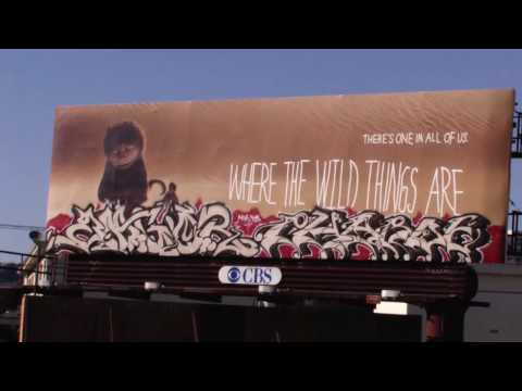 "Augor and Pharoe- ""Where The Wild Things Are""- Los Angeles Billboard Graffiti"