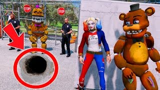 HARLEY QUINN & WITHERED FREDDY BREAK OUT OF MAXIMUM PRISON! (GTA 5 Mods For Kids FNAF Funny Moments)