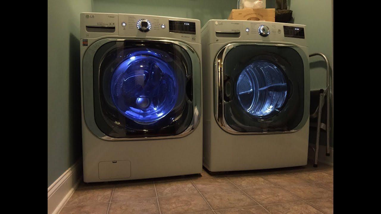 Lg Mega Capacity 5 2 Cu Ft Front Load Washer And 9 0 Cu Ft