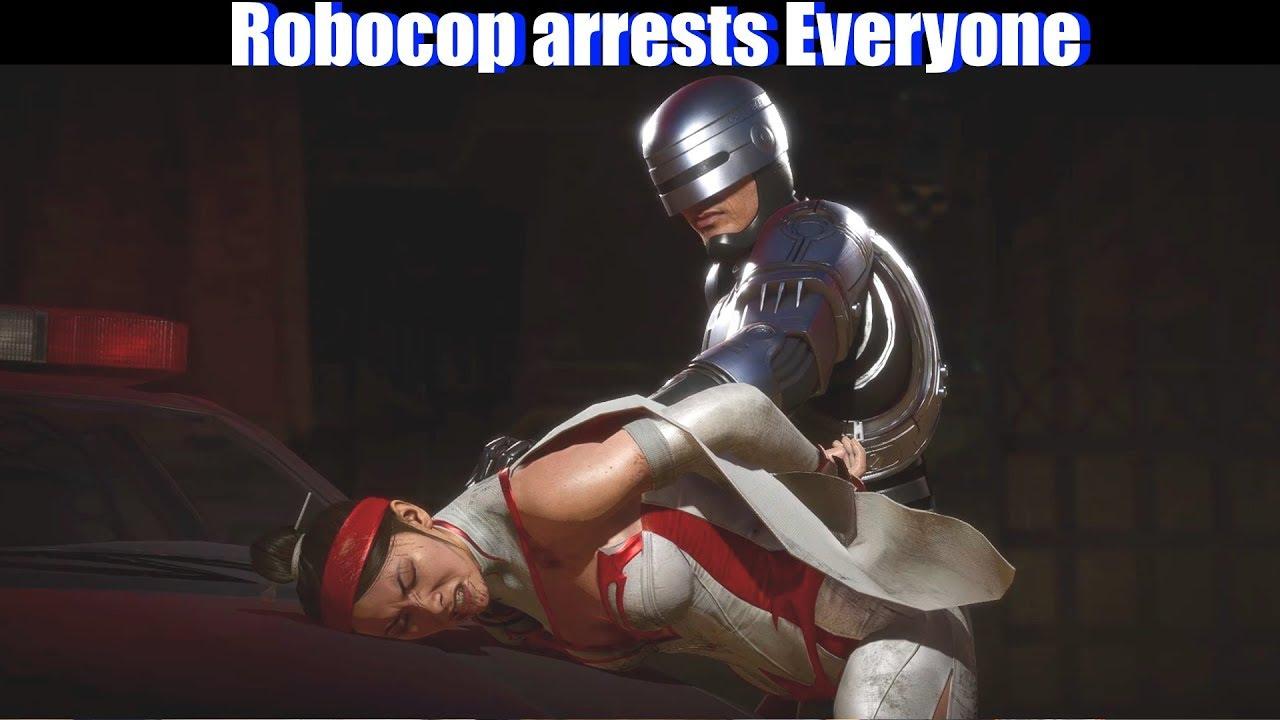 MK11 Robocop Arrests All Characters - Mortal Kombat 11 Aftermath DLC
