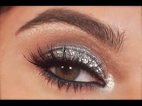 silver glitter eye makeup tutorial  youtube