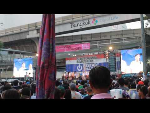 Thai National Anthem at protest site in Bangkok.