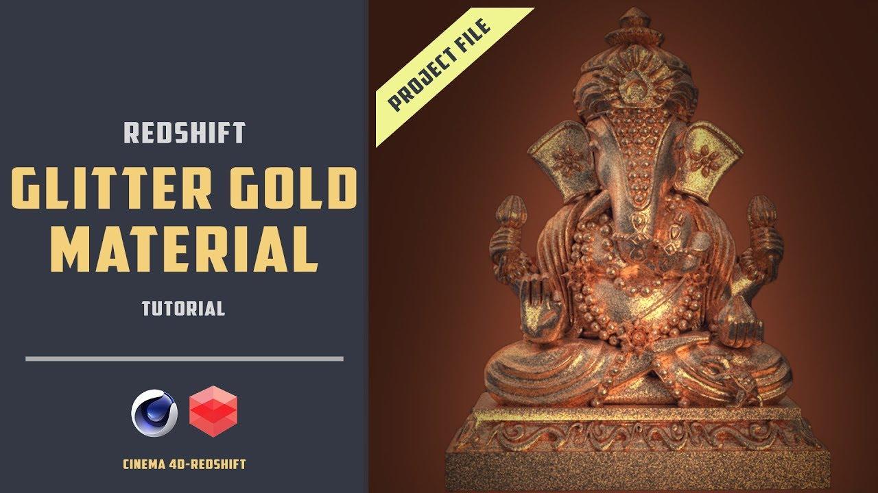 Glitter gold material in redshift [CINEMA 4D]
