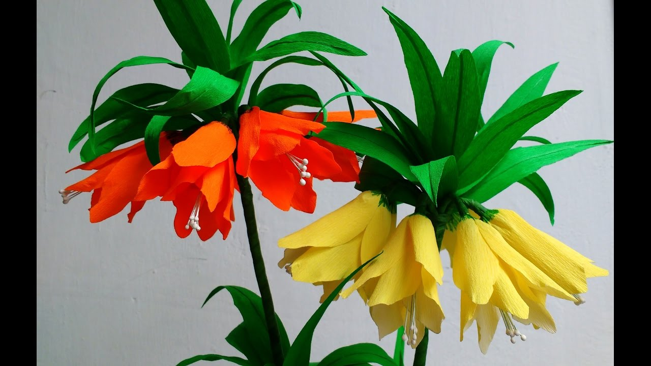 How to make paper flowers fritillaria imperialis crown imperial how to make paper flowers fritillaria imperialis crown imperial flower 89 youtube mightylinksfo