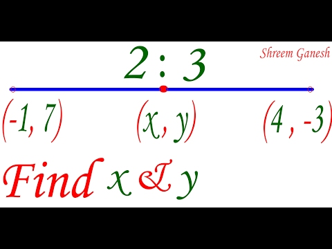 Find the co-ordinates of the point which divides the join of (-1,7)&(4,-3) in the ratio 2:3