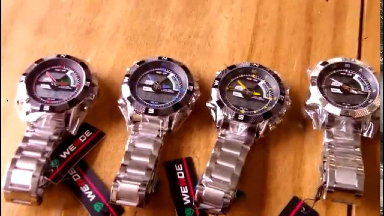 59d9890b81d Relógio Sport Weide Digital Analógico com pulseira de aço - YouTube