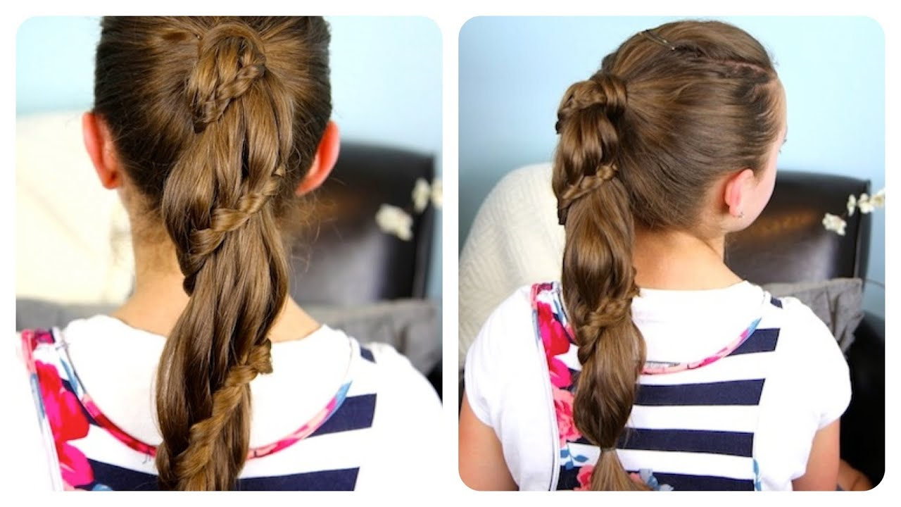 Winding lace braid ponytail cheat cute girls hairstyles youtube solutioingenieria Images