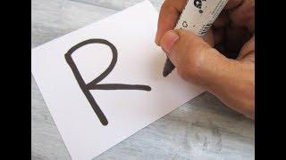 Karikatür TAVŞAN Mektubu ''R'' nasıl açılır?! Alfabe ile eğlenceli çocuklar için Çizim