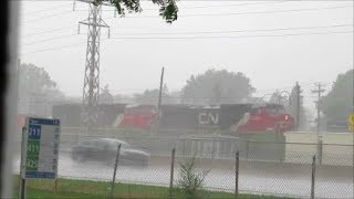 CN TRAIN IN HEAVY RAIN IN MONTREAL - 07-26-18