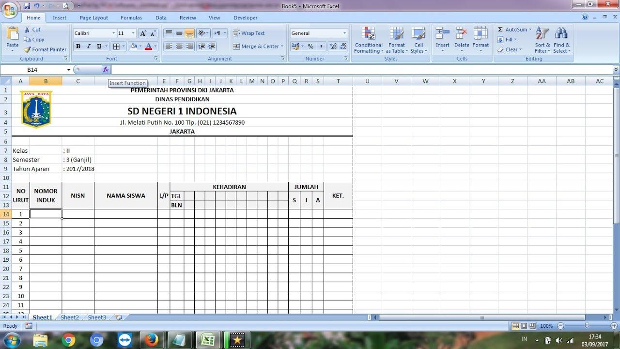 Cara Membuat Daftar Hadir Atau Absensi Di Microsoft Excel Youtube