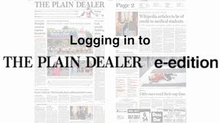Logging in to The Plain Dealer e-edition