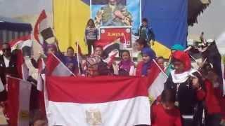 تلاميذ مدرسة جيل أكتوبر يهتفون تحيا مصر فى قناة السويس الجديدة