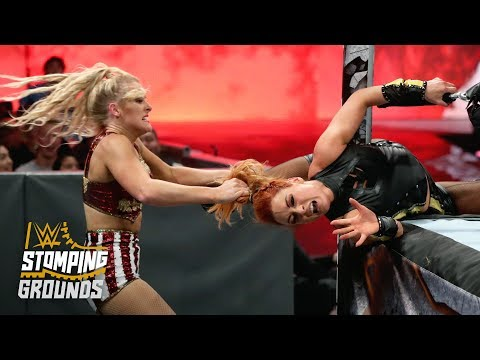 Lacey Evans wraps Becky Lynch around the ring post: WWE Stomping Grounds 2019 (WWE Network)