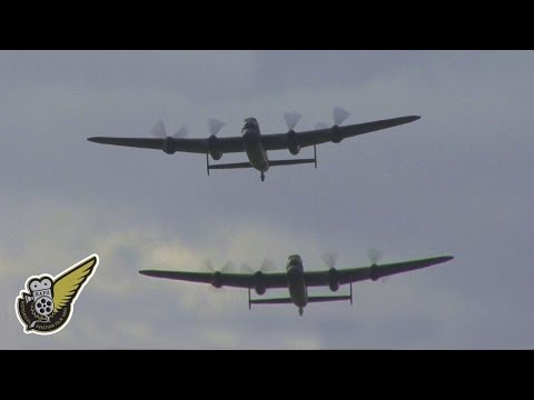 Two Lancaster Bombers plus Spitfire & Hurricane