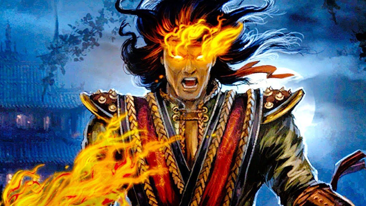 Shang Tsung Tries To Kill Fire God Liu Kang Scene - MORTAL KOMBAT