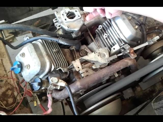 16HP Briggs & Stratton Vanguard VTWIN, bad carb - YouTube