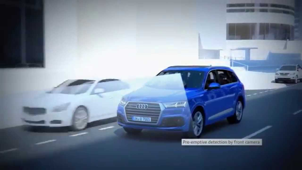 new 2016 audi q7 pre sense city predictive pedestrian protection animation youtube. Black Bedroom Furniture Sets. Home Design Ideas