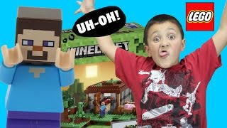 Lets Build LEGO Minecraft The First Night: Steve has a Problem! (Timelapse & FGTEEV Cheesy Review)