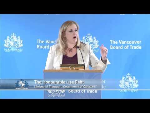 Transport Minister Lisa Raitt speaks to The Vancouver Board of Trade