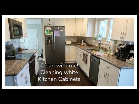 Kitchen Cabinet Clean with me | Cleaning White Kitchen Cabinets