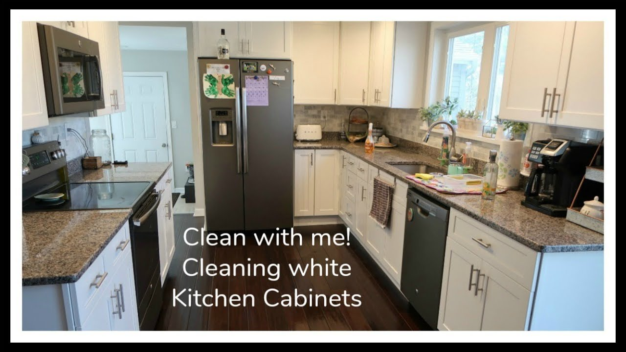Kitchen Cabinet Clean with me | Cleaning White Kitchen ...