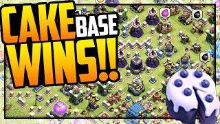 The SECRET CAKE BASE WINS!! Clash of Clans Defense