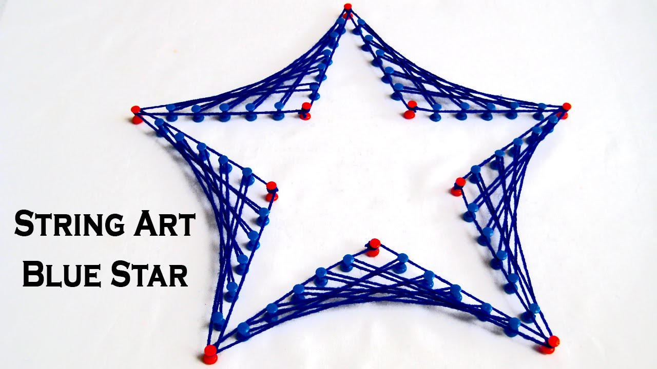 string art designs make blue star from string art by sonia goyal youtube. Black Bedroom Furniture Sets. Home Design Ideas
