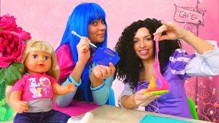 Видео с куклами Беби Бон - Принцессы ДИСНЕЯ открыли КАФЕ! – Весёлые игры одевалки для девочек.