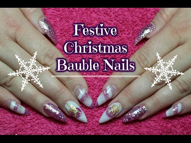 ????Festive Christmas Bauble nails | Acrylic Cutout????