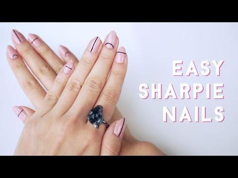 Sharpie Nude Nails Minimal Nail Art Youtube