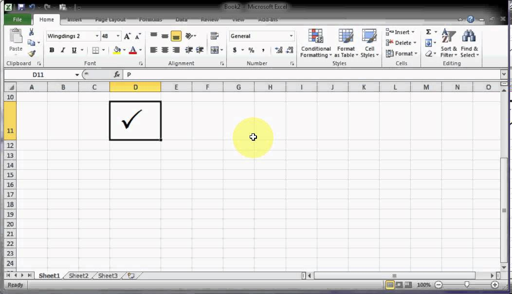 Micosoft Excel Tips And Tricks How To Get Tick Mark With Fonts