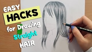 ▼ EASY HACKS▼How to Draw Hair Part 1 ▼ Straight Hair ▼ Artist Life Hacks
