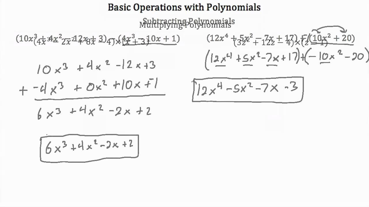 worksheet. Operations With Polynomials Worksheet ...