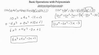 Basic Operations with Polynomials PT 1