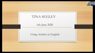 Using Articles in English with Tina Seeley