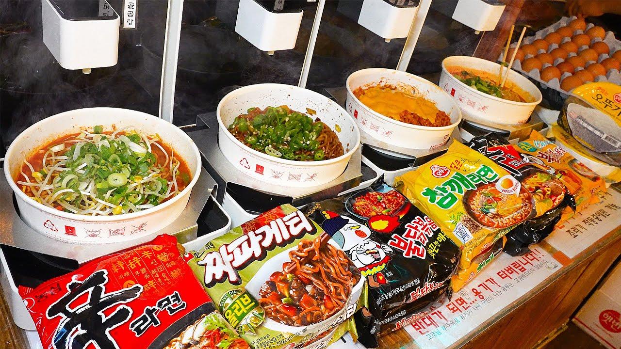 언제까지 편의점 사발면만 먹을꺼야? 모든 라면이 다있다! 치즈, 토핑 무료~ 24시 무인 라면 편의점┃Amazing! Ramen store / Korean street food